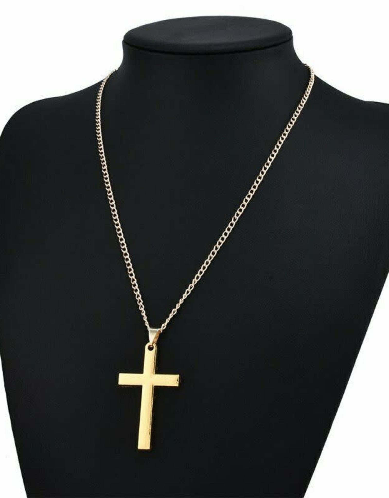 Chain With Cross 2in x 1.25in thick Gold