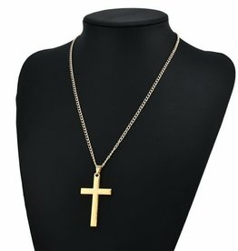 Chain With Cross 3in x 1.25in Gold