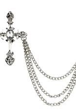 Lapel Pin Rhinestone Cross With Chain