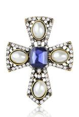Lapel Pin Cross Silver Gold Blue