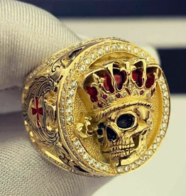 Ring Stainless Steel Gold Skull with Crown