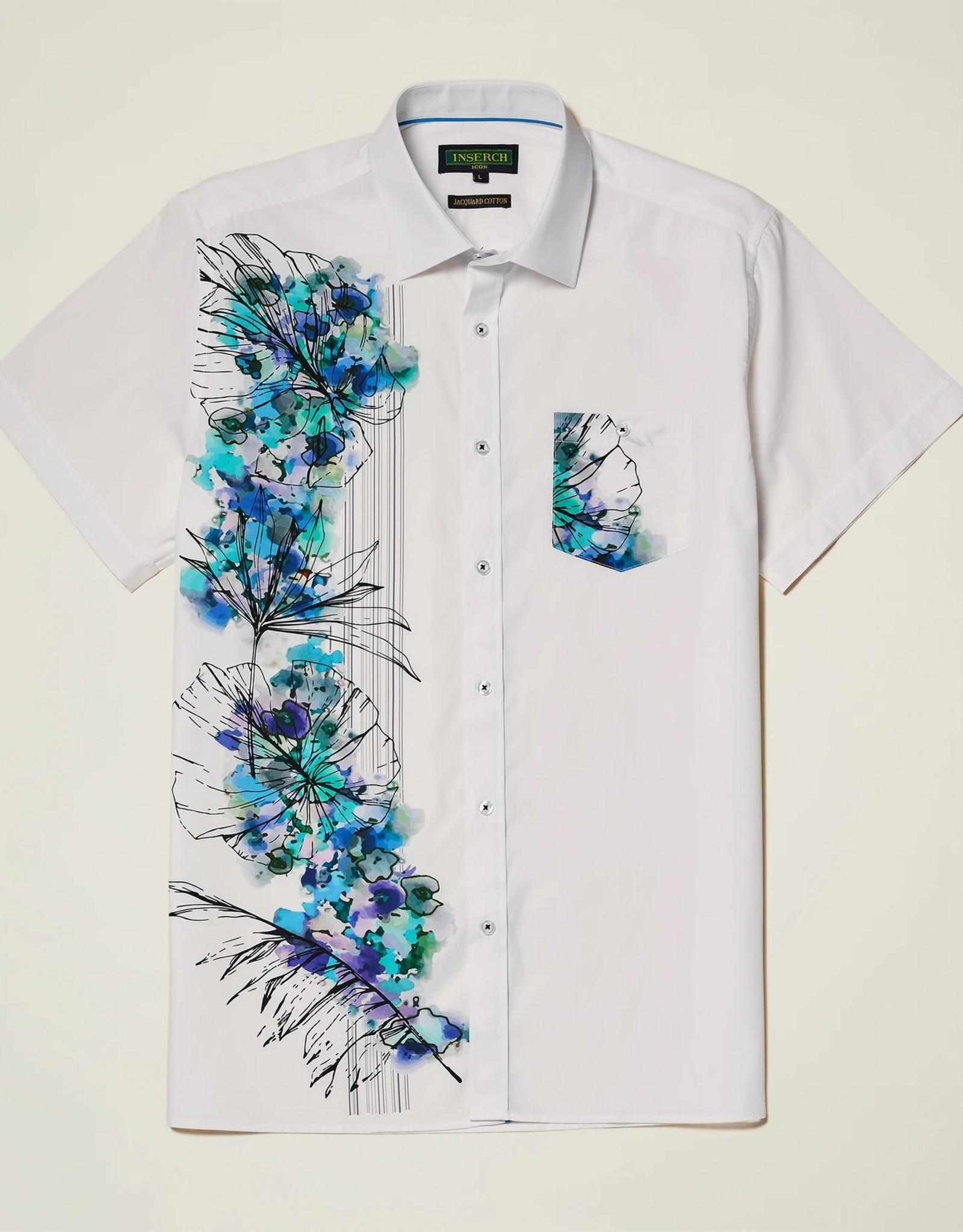 INSERCH MERC USA Shirt Casual Short Sleeves Cotton ss004 White/Blue