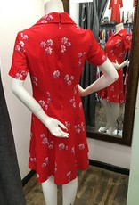 70's Red dress with purple flowers