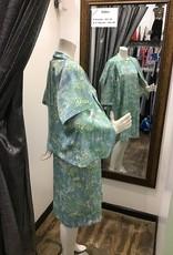 60's print 2 pc dress & jacket set blue/green/white