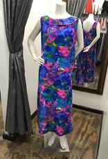 70's sundress blue green pink floral