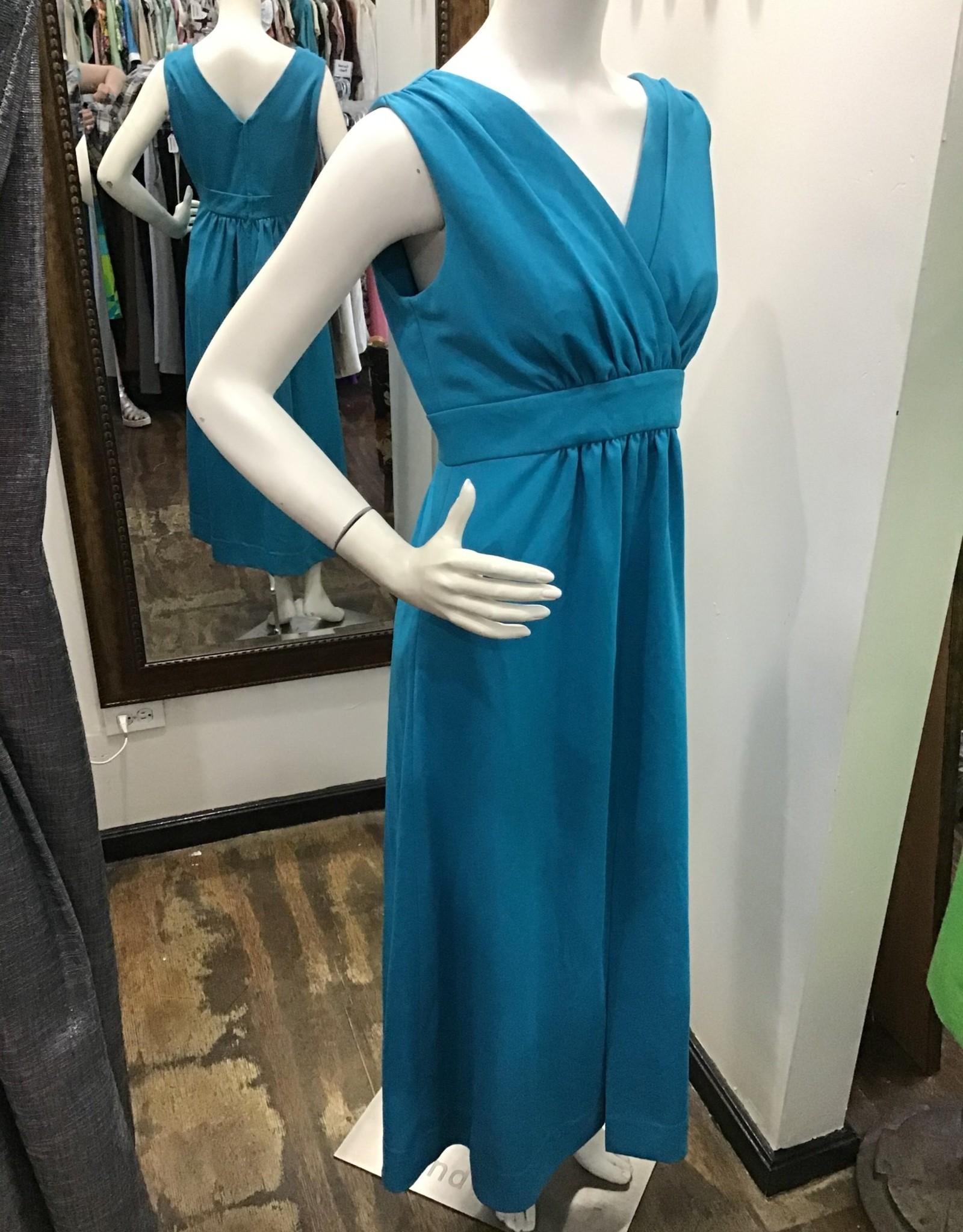 70's turqoise polyester v neck dress