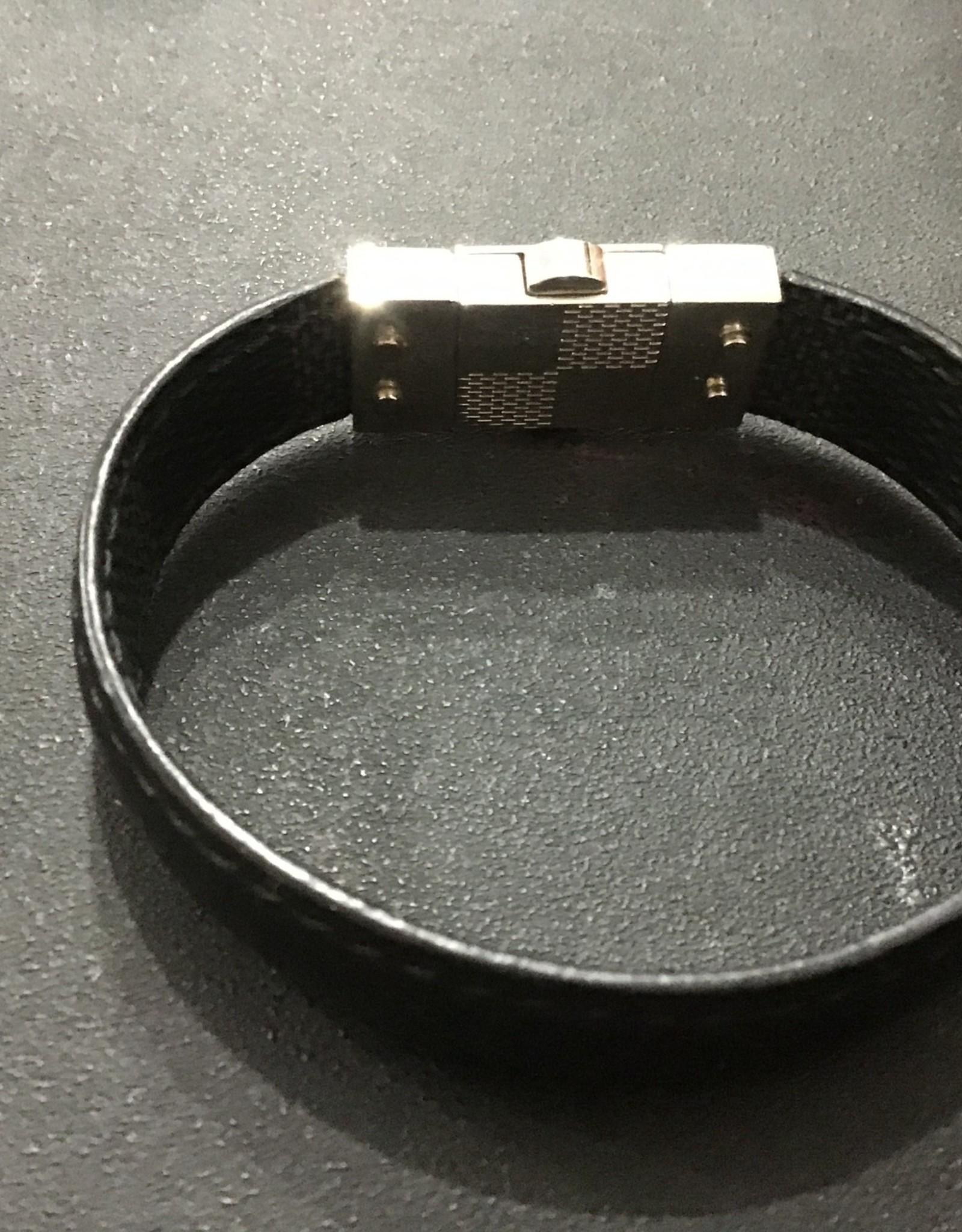 Louis Vuitton Louis Vuitton Black leather bracelet