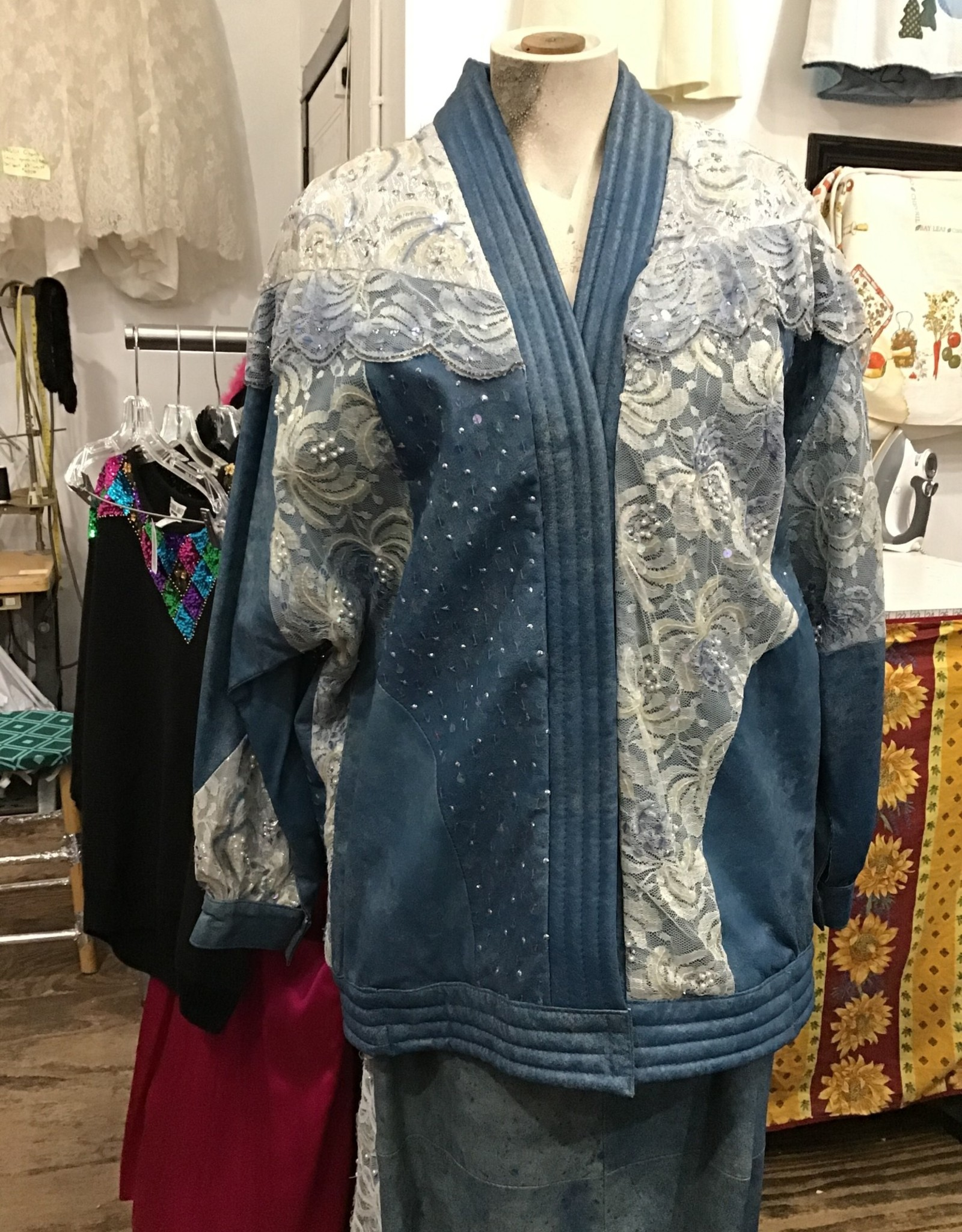 judith ann creations blue leather bling suit
