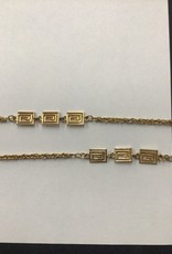 goldtone long necklace with squares