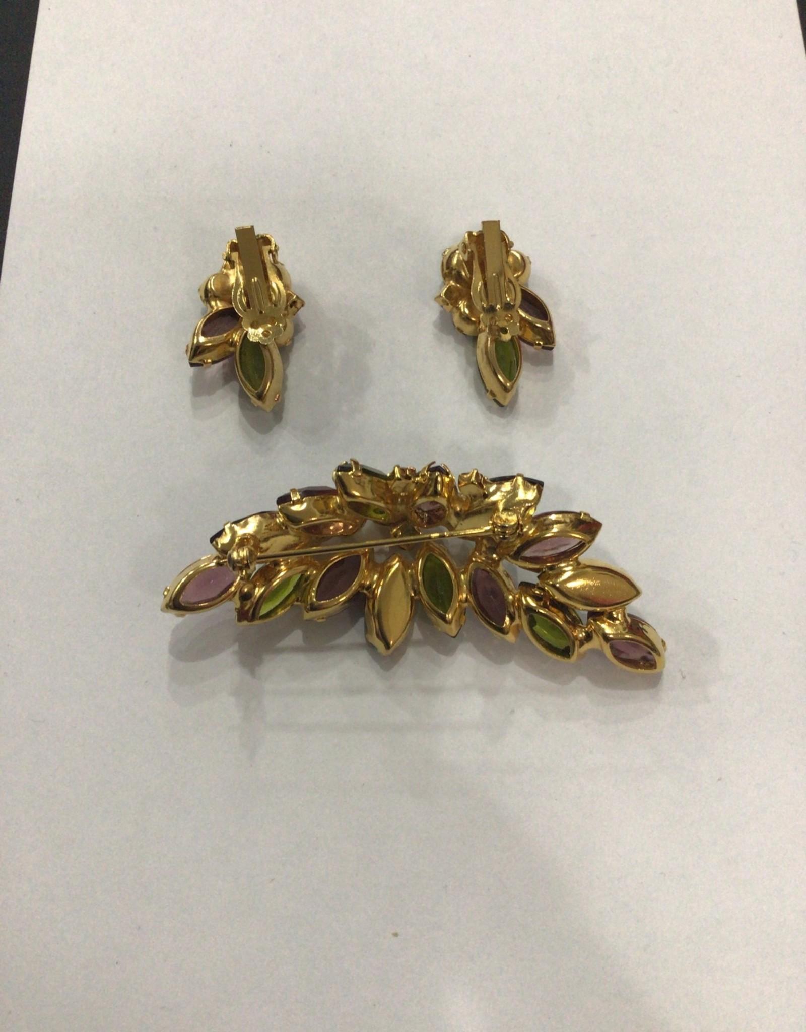 jewel tone clip earring/pin set