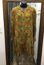 70s green/orange paisley dress