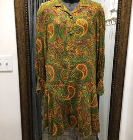 70s green/orange paisley dress