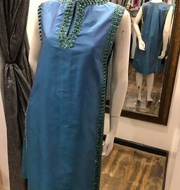 60's blue dress w/over cape w/sequins