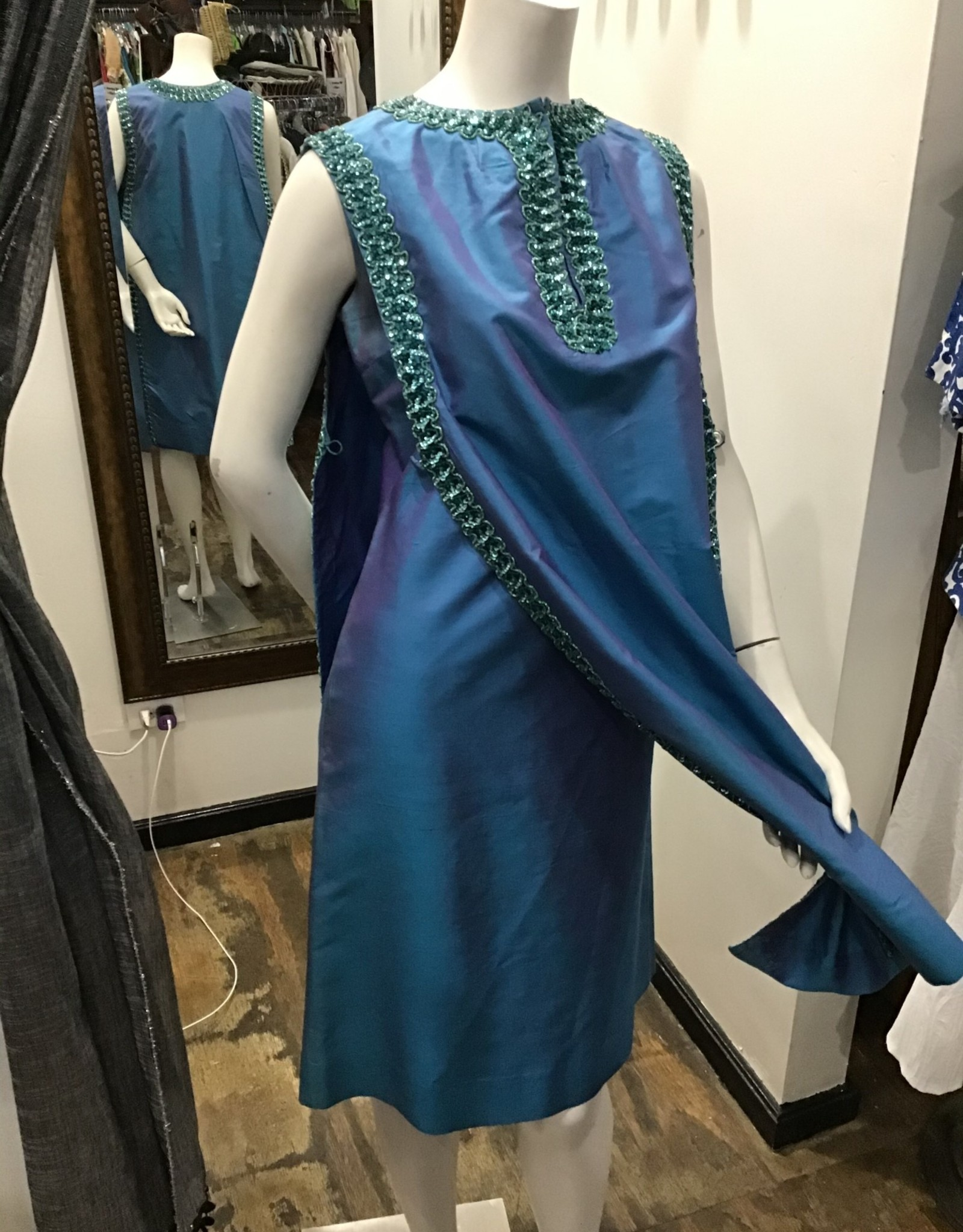 60's blue dress w/over cape w/sequins