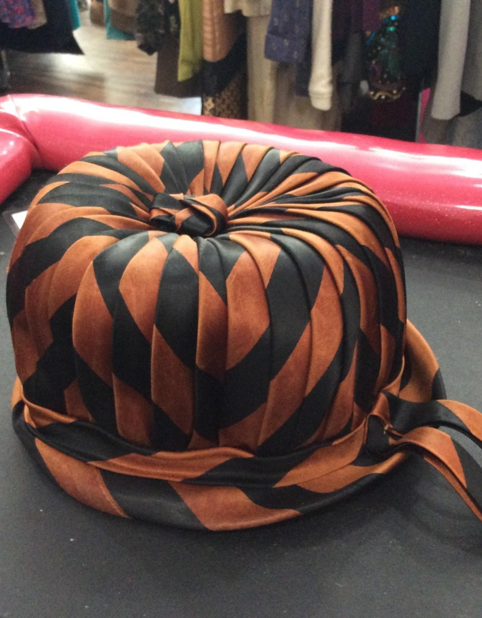 60s brown striped satin bucket hat