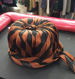 60s brown striped satin bucket hat