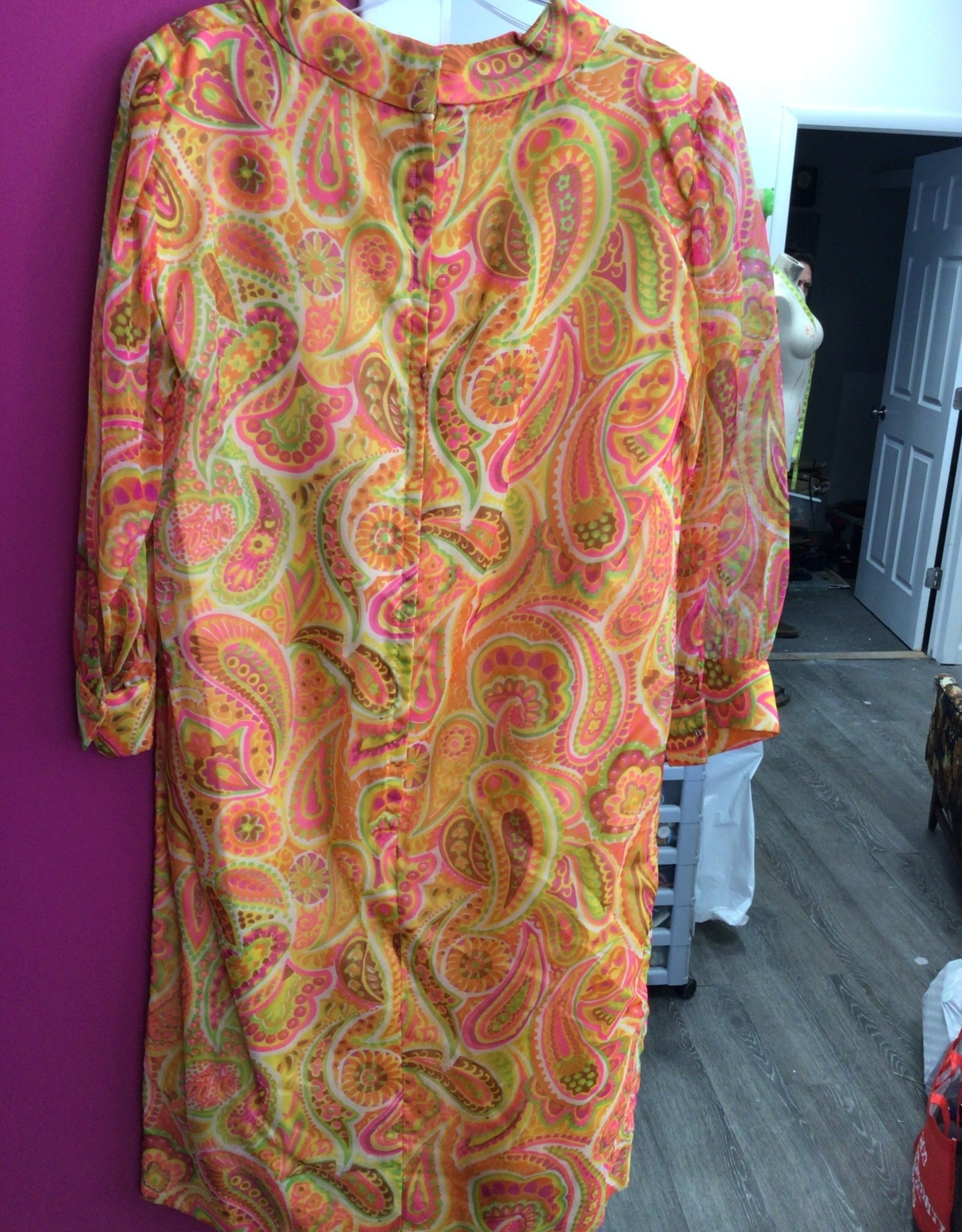 70's floral paisly dress sheer arms