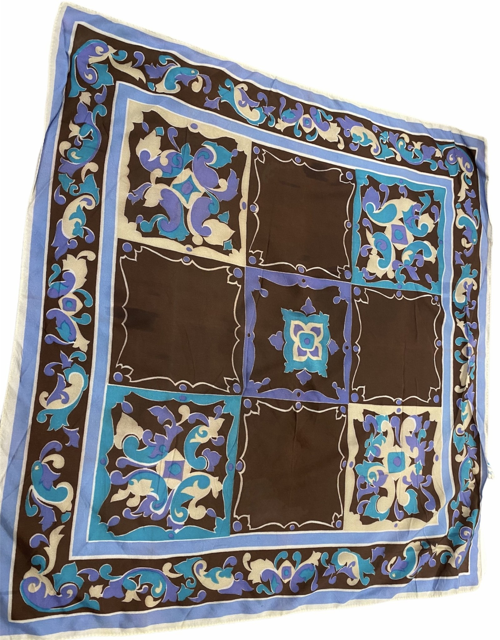 Fashion scarf brown and blue tiled
