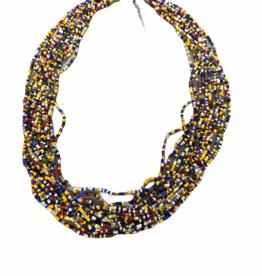 Rainbow beaded multistrand necklace