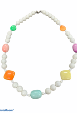 white and pastel beaded necklace