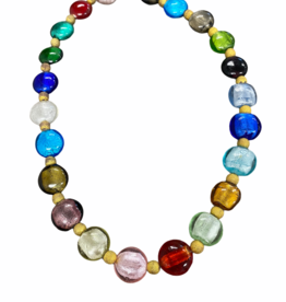 gold and multicolor glass bead necklace