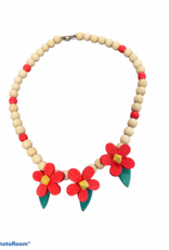 Wooden bead and flower necklace