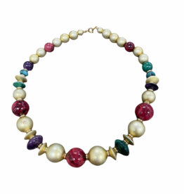 80s gold and jewel tone beaded necklace