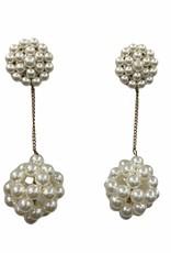 Pearl dangle earrings w/large pearl balls