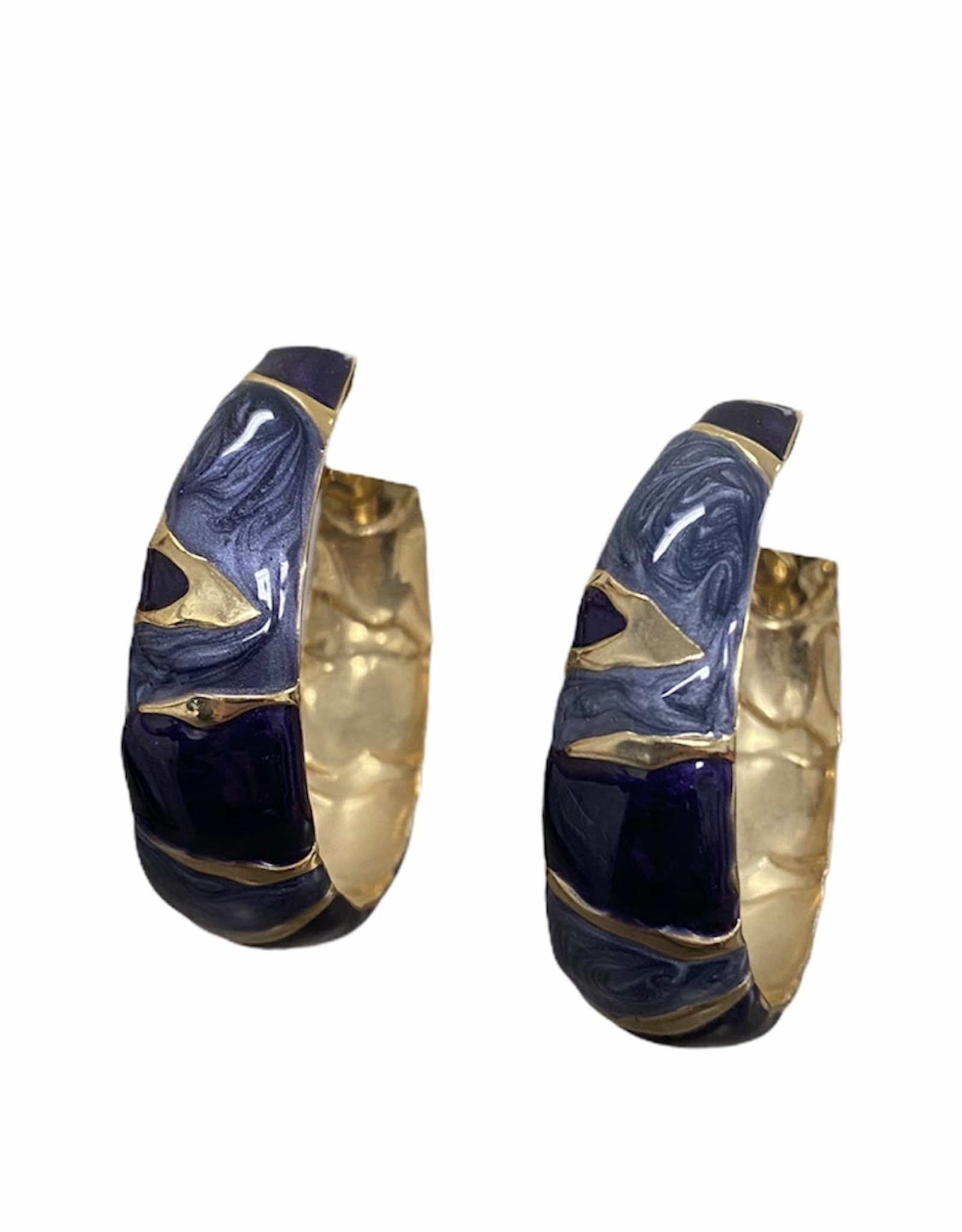 blue and gold swirl clip earrings