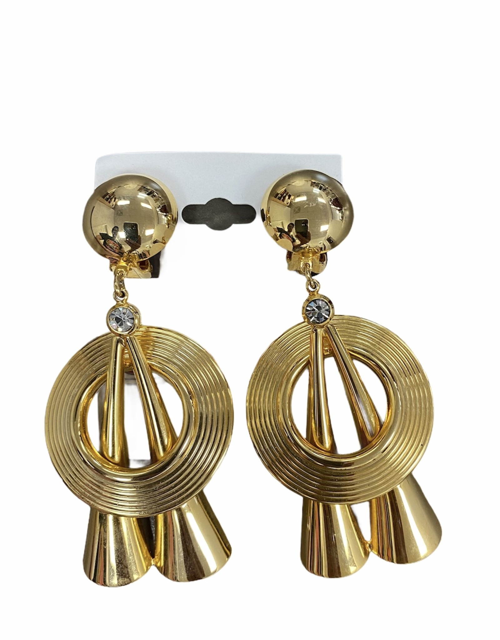 gold clip circle & funnel shape clip earring