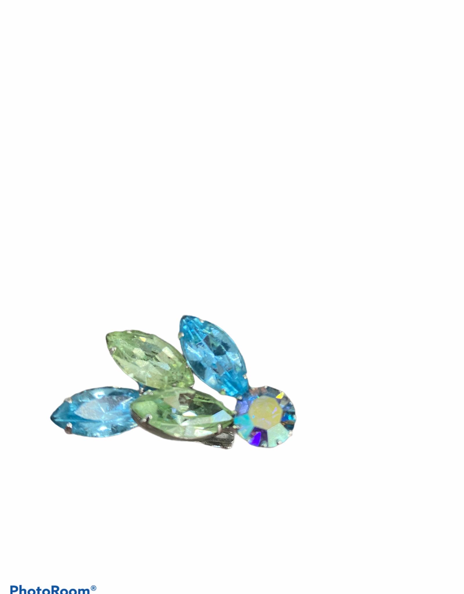 Lisner Lisner style blue-green pin/earrings set