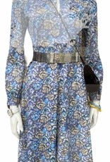 70s style dress blue floral pattern long sleeve