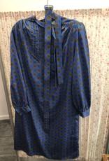 80s blue patterned dress with belt