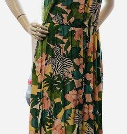 80s Floral print w/Zebra dress