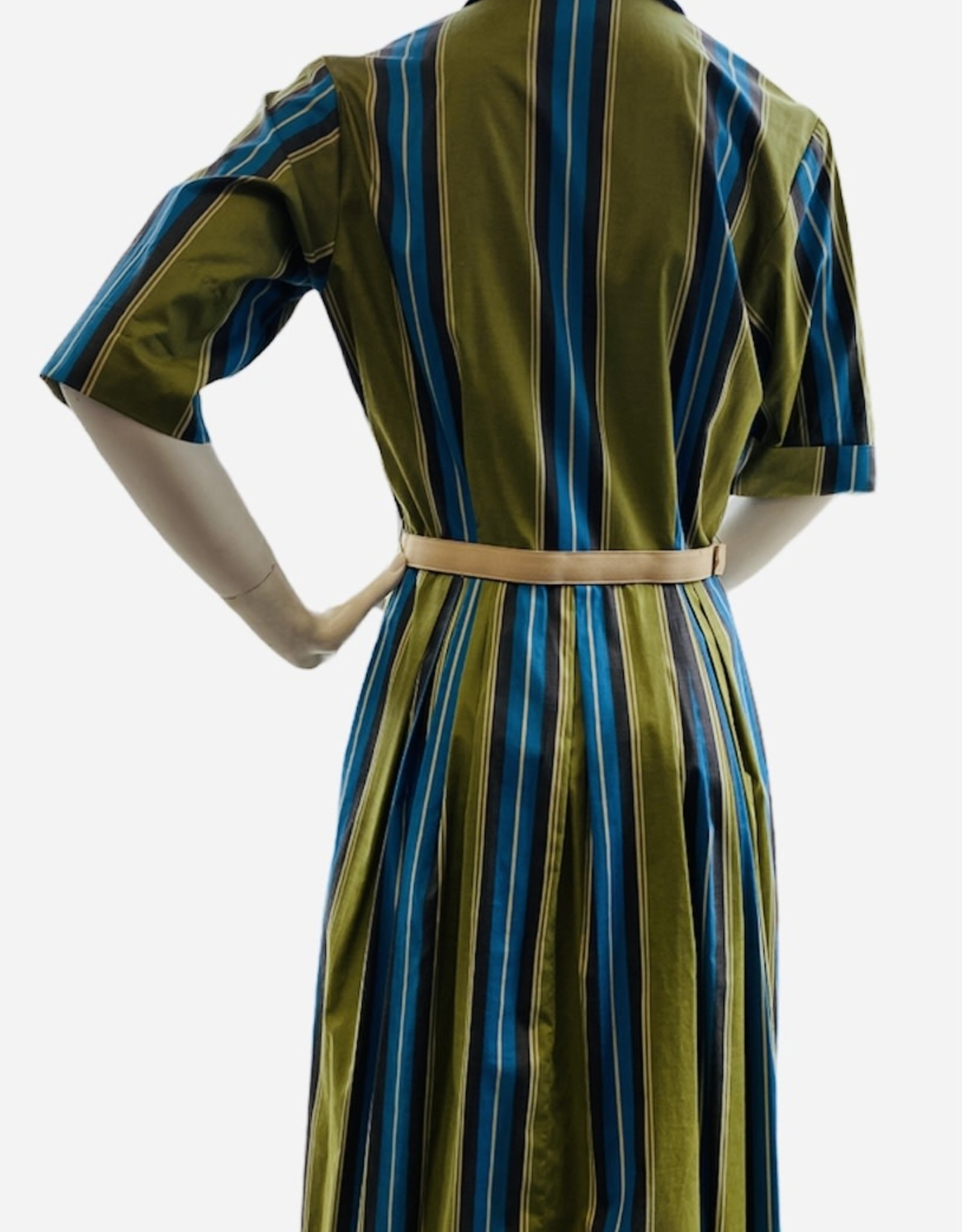 60s green and blue striped dress