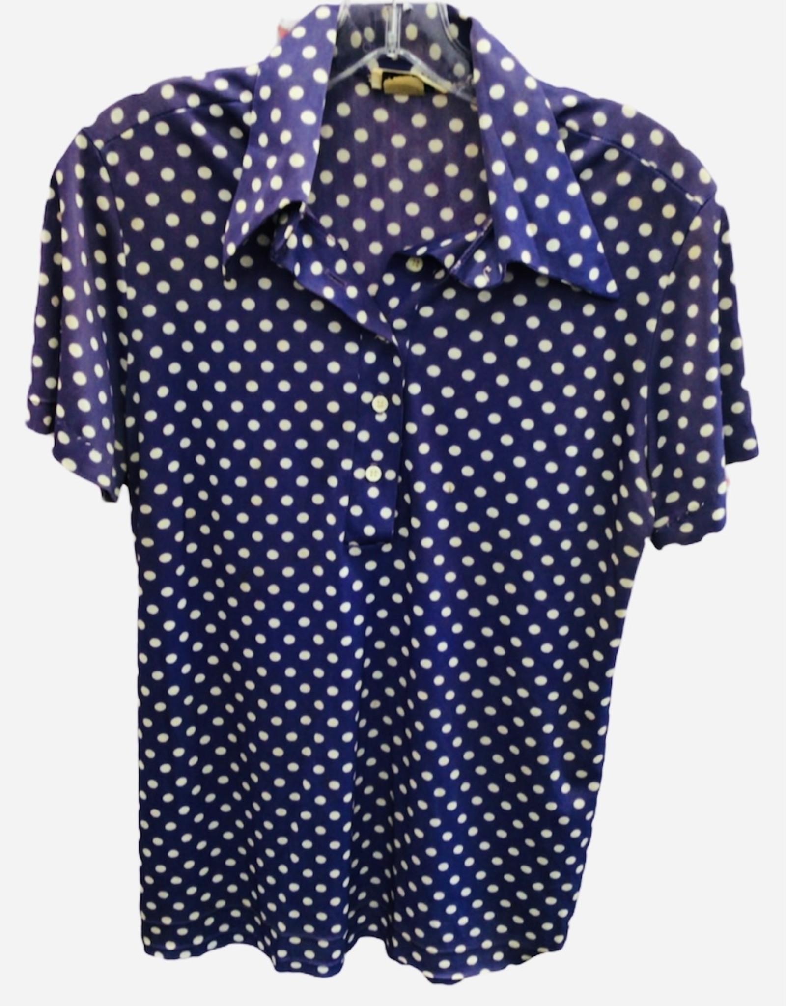 70s purple polka dot shirt
