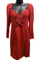 80s red silk dress sz 6