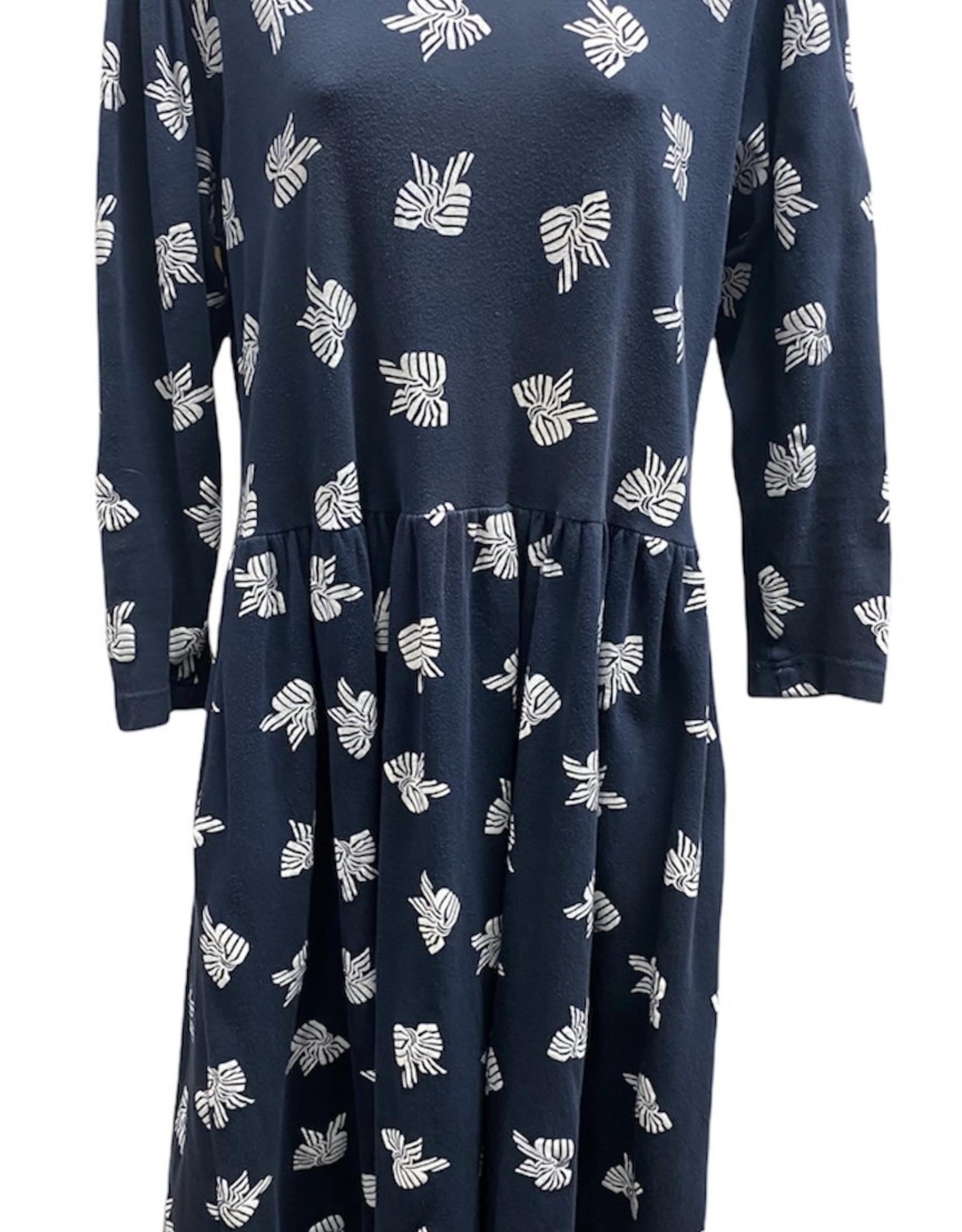 80s navy print dress bow detail