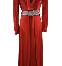 70s red dress silver belt