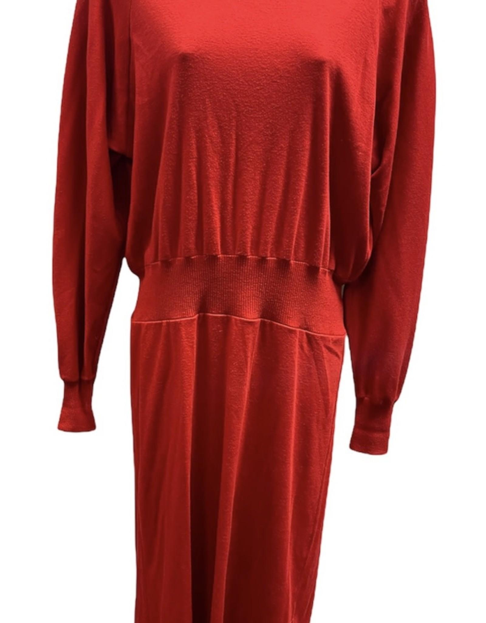 80s knit red dress