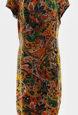 60s Paisley peach and pink dress