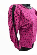 Jump In 80s deep pink knit top w puff slvs