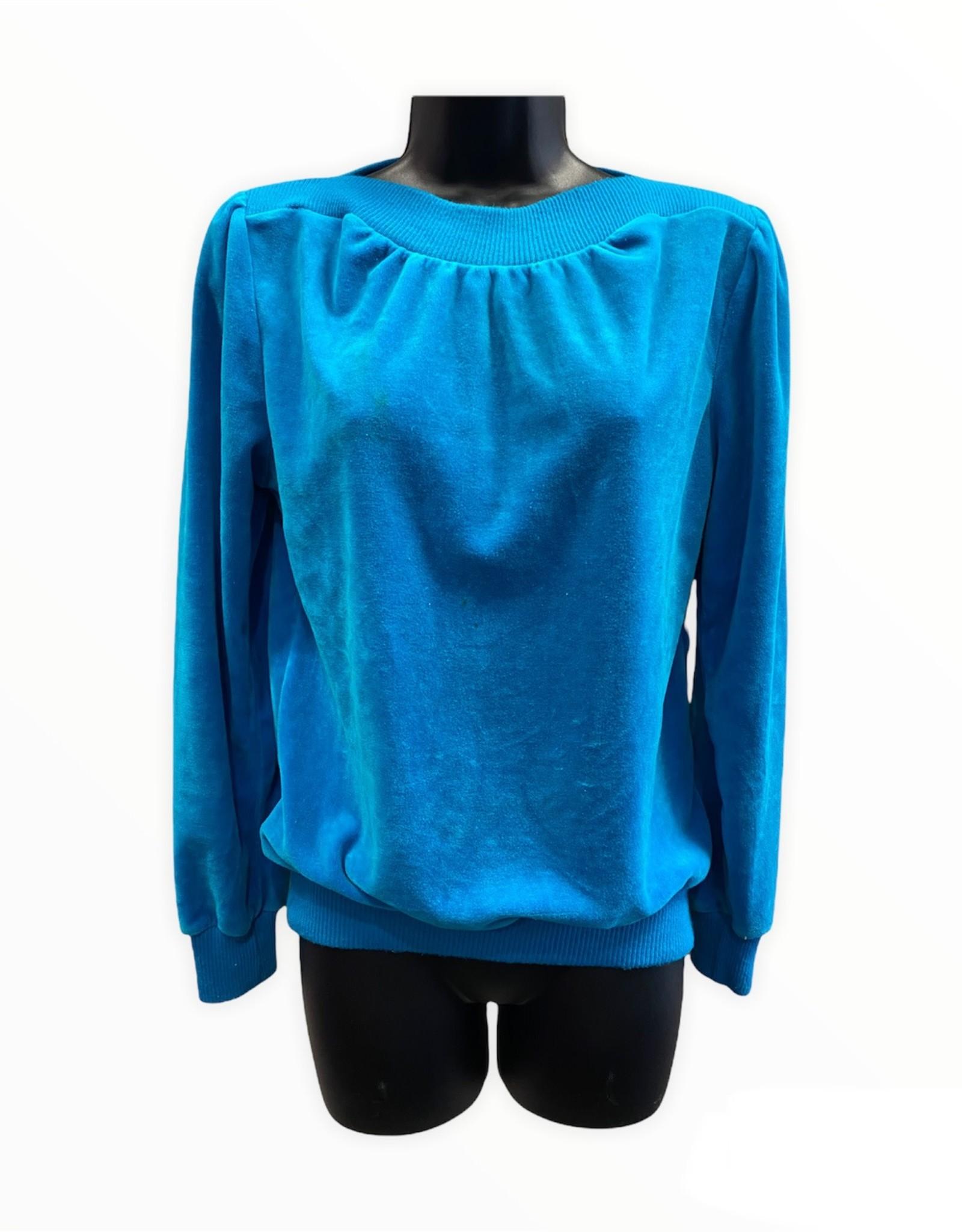Sears 70s turquoise velour sweatshirt sz S