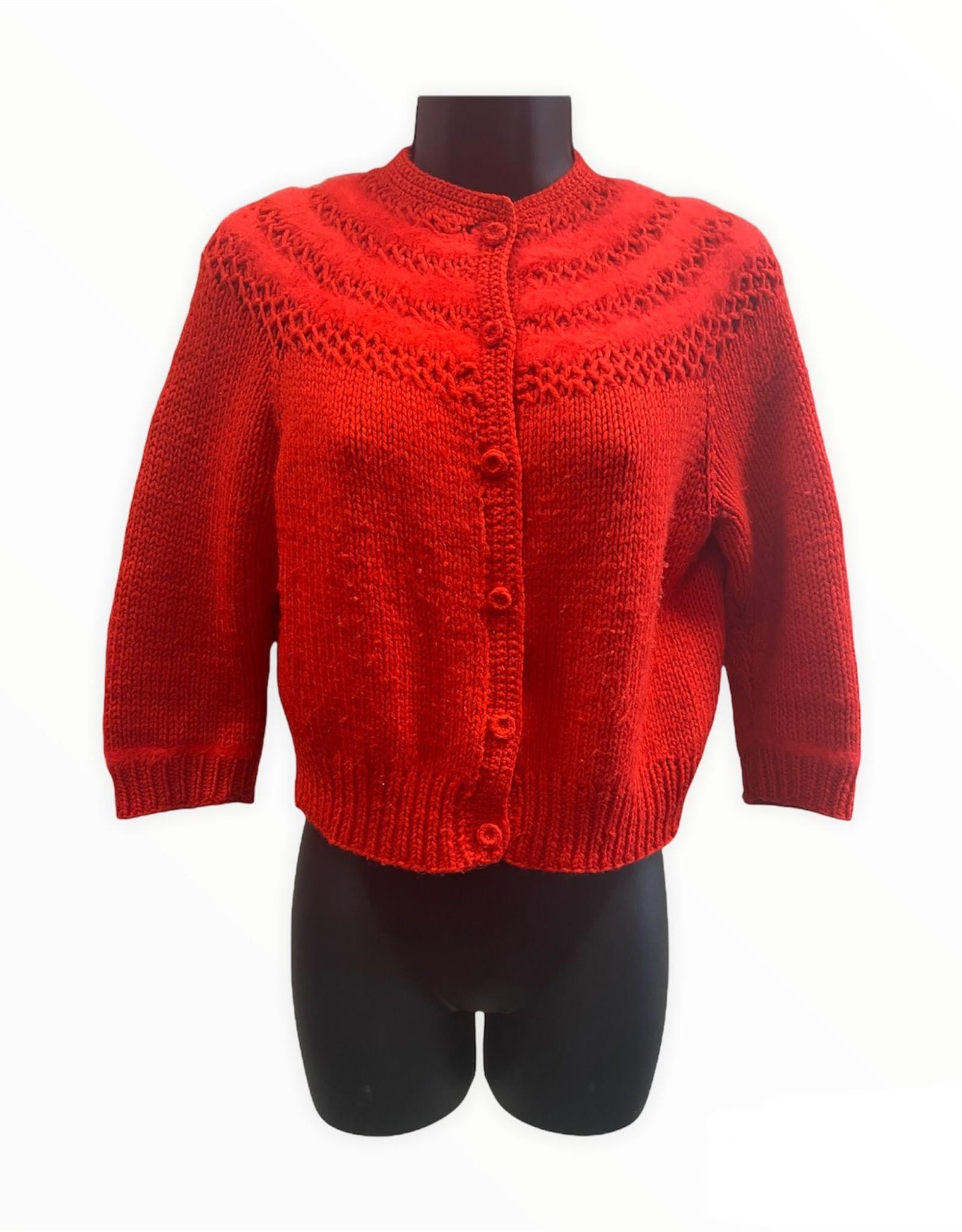 70s bright red handmade cardigan