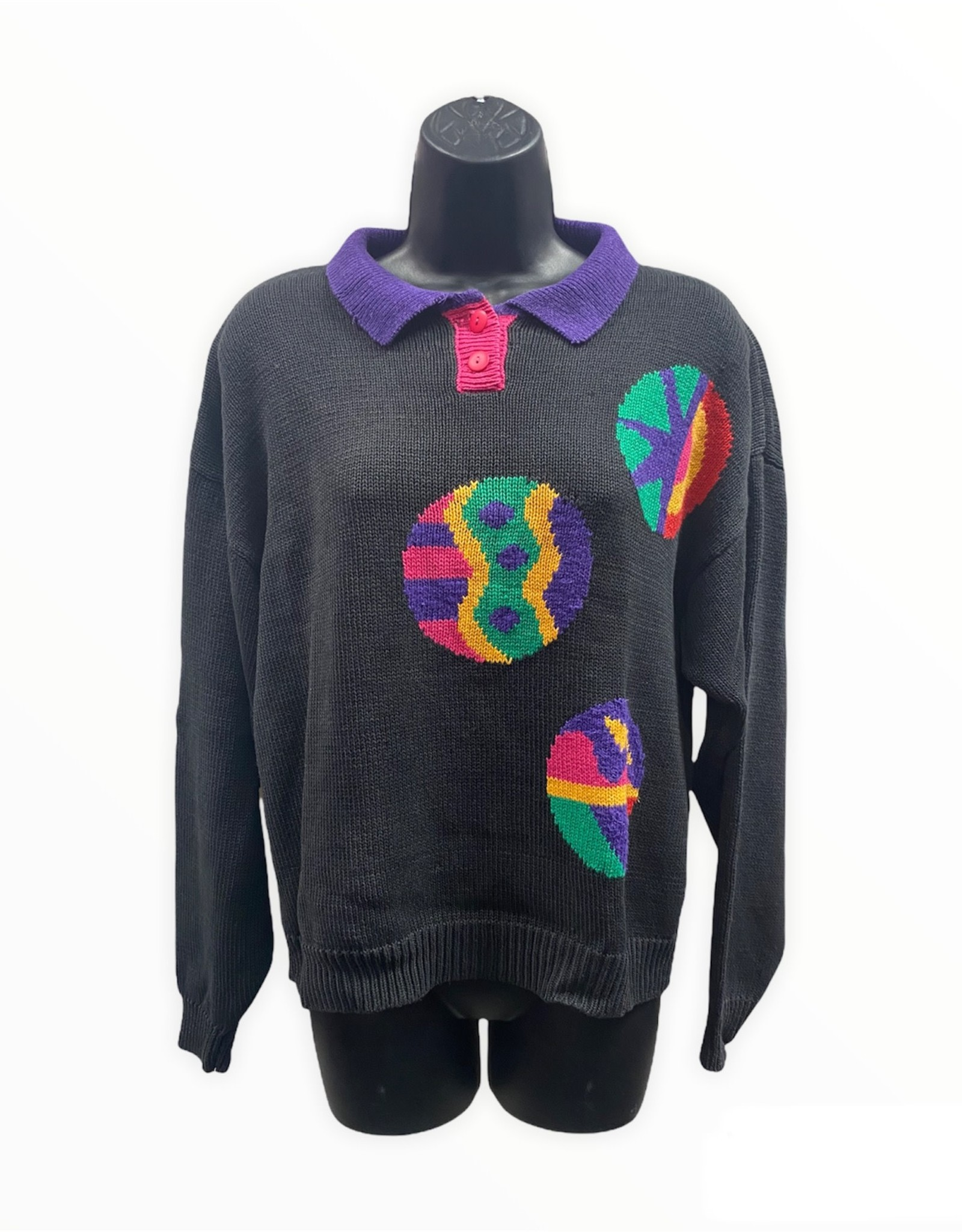 Russ Studio 80s black long sleeve sweater w/bright accents