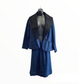 Henry C Lytton &Co. 60s Blue tweed jacket/skirt w/black wool details