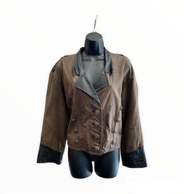 80s Brown and Black cropped leather jacket