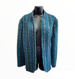80s Knit jacket teal w/stripes