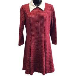Sears 60s red polkadot dress white collar/cuffs
