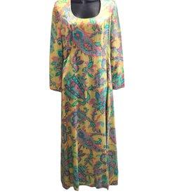 Montaldo's 70s Yellow w/paisley details full length dress